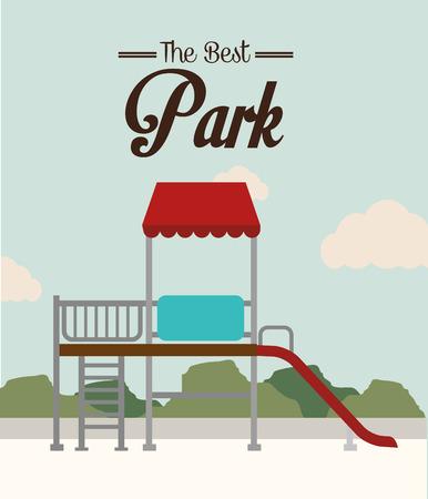 fairground: Park design over landscape background, vector illustration.