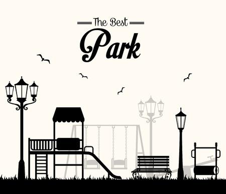 白い背景に、ベクトル図公園設計。  イラスト・ベクター素材