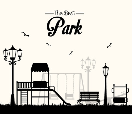 Park design over white background, vector illustration. Иллюстрация
