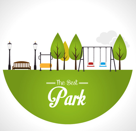 Park design over white background, vector illustration. Ilustração