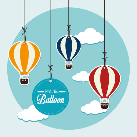 air vehicle: Air balloon over blue background, vector illustration. Illustration
