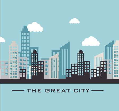 urbanization: Urban design over blue design, vector illustration.