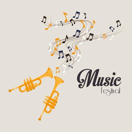 notas musicales: Dise�o de la m�sica sobre fondo gris, ilustraci�n vectorial.
