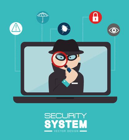 eye service: Security design over blue background, vector illustration. Illustration