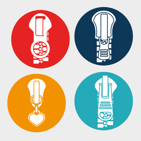 metal fastener: Zipper design over white background, vector illustration. Illustration