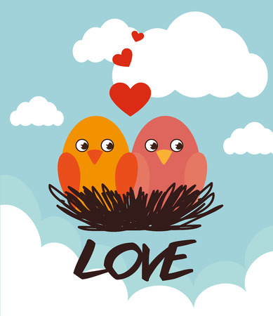 Valentines day design over cloudscape background, vector illustration.