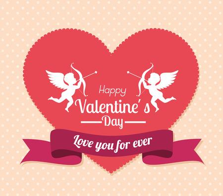 Valentines day over beige background, vector illustration. Illustration