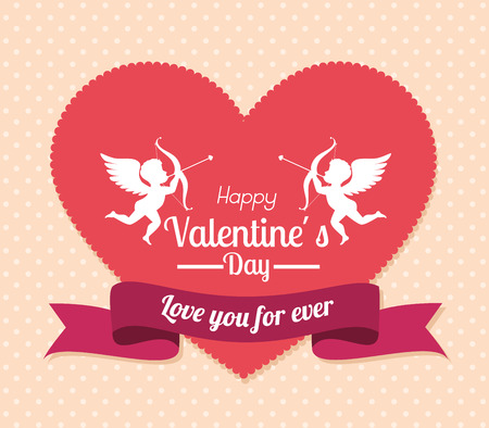 Valentines day over beige background, vector illustration. Ilustrace