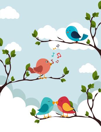cloudscape: Bird design over cloudscape background, vector illustration.