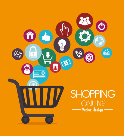 shop online: Shopping design over yellow background, vector illustration.