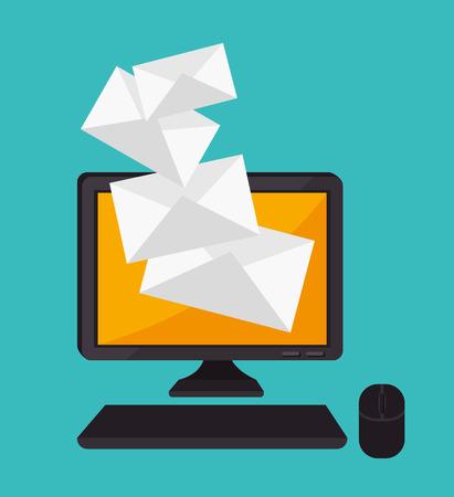 electronic mail: Email design over blue background, vector illustration. Illustration