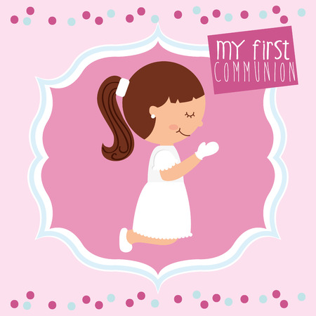 child praying: my first communion design, vector illustration eps10 graphic