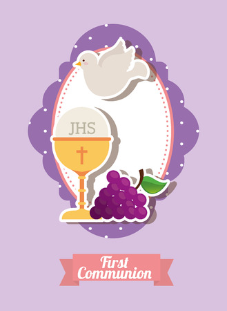 the catholic church: my first communion design, vector illustration eps10 graphic
