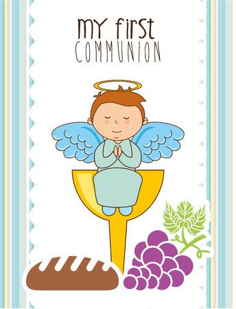 mijn eerste communie ontwerp, vectorillustratie eps10 grafische Stock Illustratie