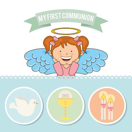 divine: mijn eerste communie ontwerp, vectorillustratie eps10 grafische Stock Illustratie