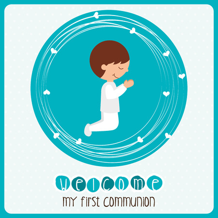 holy communion invitations: my first communion design, vector illustration eps10 graphic