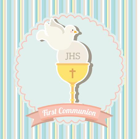 holy  symbol: mi primera comuni�n de dise�o, ilustraci�n vectorial gr�fico eps10