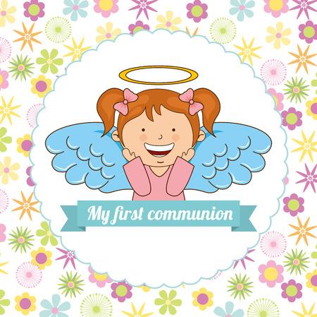 catholic angel: my first communion design, vector illustration eps10 graphic