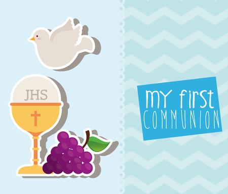 prima comunione: il mio primo progetto di comunione, illustrazione grafica vettoriale eps10