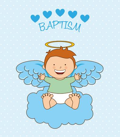 baby angel: battesimo angelo progettazione, illustrazione grafica vettoriale eps10