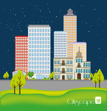 urbanization: Urban design over night background, vector illustration. Illustration