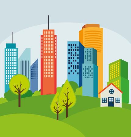 urbanisierung: Stadtgestaltung �ber wei�em Hintergrund, Vektor-Illustration. Illustration