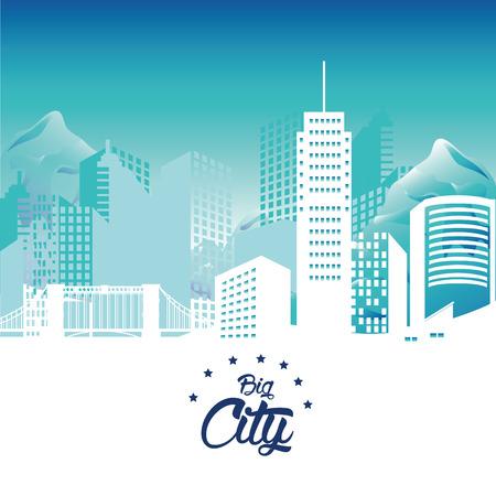 urbanization: Urban design over blue background, vector illustration. Illustration
