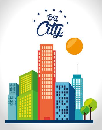 urbanization: Urban design over white background, vector illustration.
