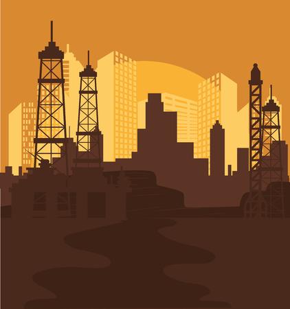 urbanization: Urban design over orange background, vector illustration. Illustration