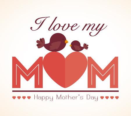 love bird: Happy mothers day card, vector illustration.