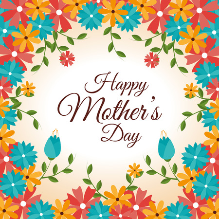 Happy mothers day card, vector illustration.