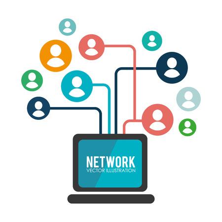 社会的なネットワーク デザイン、ベクトル図です。
