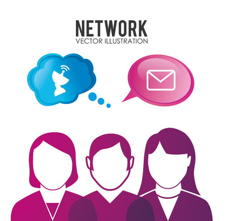 network and media: Social network design, vector illustration.