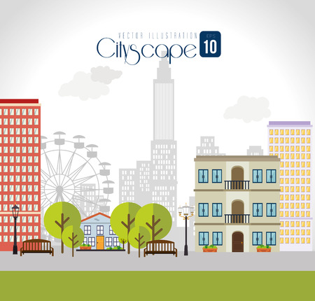 Hotel design over cityscape background, vector illustration.