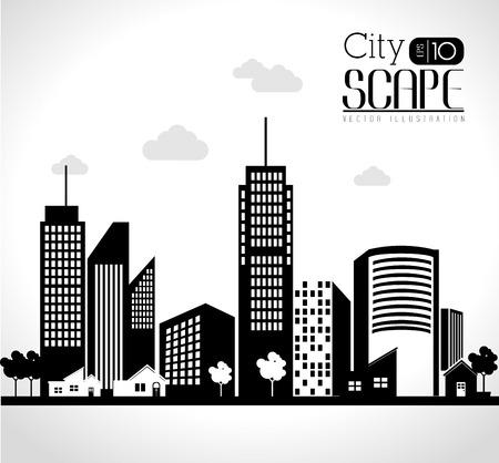 urban environments: Urban design over white background, vector illustration.
