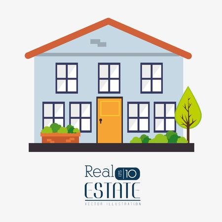 house construction: Real estate design over white background, vector illustration.