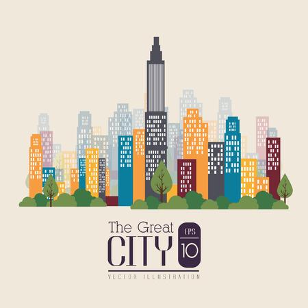 urbanisierung: Stadtgestaltung �ber beige Hintergrund, Vektor-Illustration. Illustration