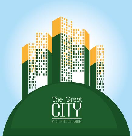 urbanisierung: Stadtgestaltung �ber blauem Hintergrund, Vektor-Illustration.