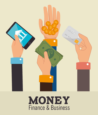 protect money: Money design over beige background, vector illustration.