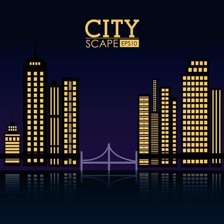 urbanization: Urban design over black background, vector illustration. Illustration