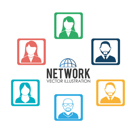 socializando: Diseño de la red social, ilustración vectorial. Vectores
