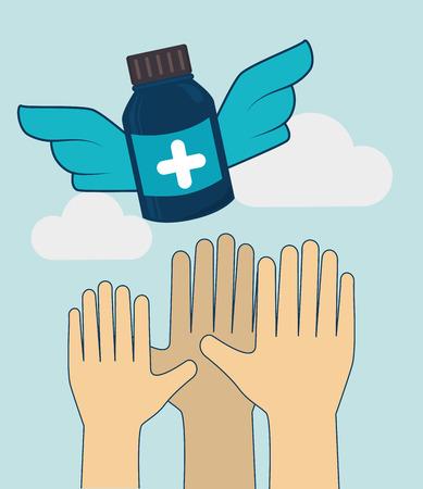 medics: Medical design over cloudscape background, vector illustration.