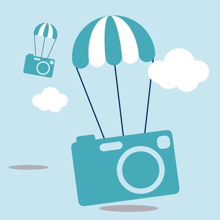 photgraphy: Technology design over cloudscape background, vector illustration. Illustration