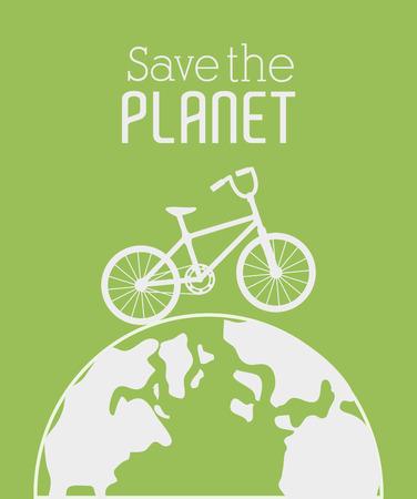 enviromental: Dise�o de Ecolog�a sobre fondo verde, ilustraci�n vectorial.
