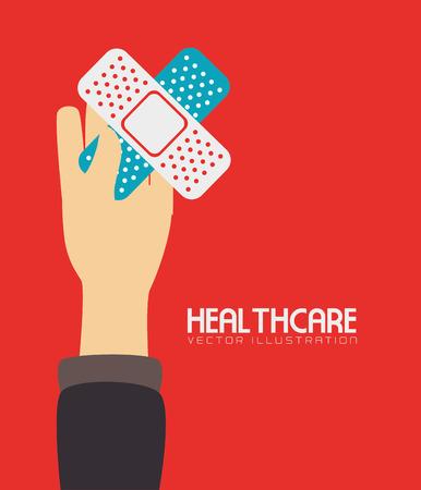 band aid: Medical design over red background, vector illustration.