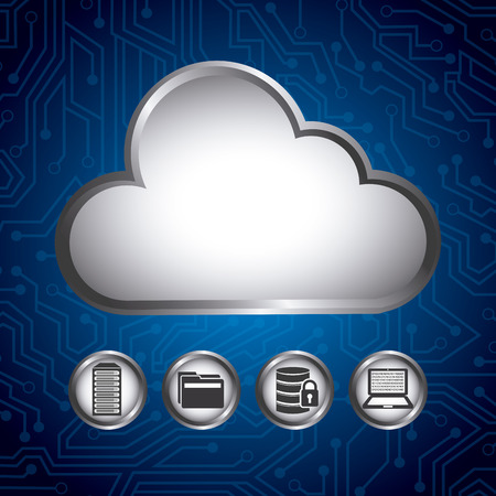 protected database: data center design, vector illustration eps10 graphic