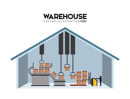 warehouse forklift: dise�o de los almacenes, ejemplo gr�fico del vector eps10 Vectores