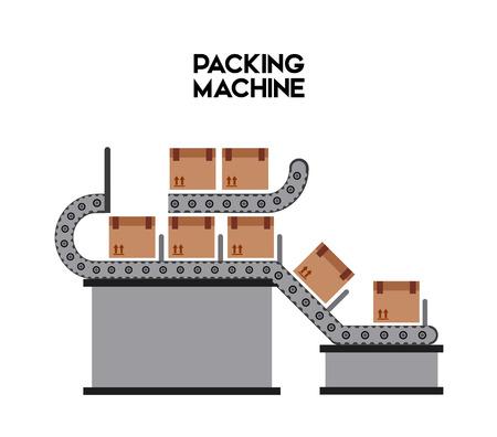 cinta transportadora: embalaje diseño de la máquina, ejemplo gráfico del vector eps10