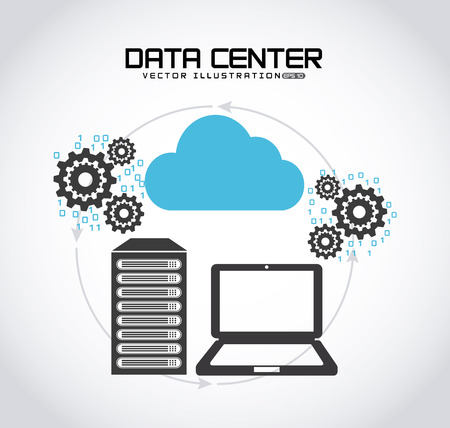 virtualization: data center design, vector illustration eps10 graphic