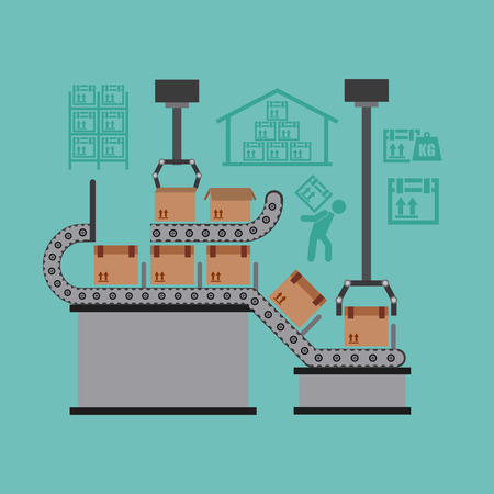 assembly line: packing machine design, vector illustration eps10 graphic Illustration